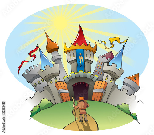 Papiers peints Chateau A man standing before bright and jolly city, vector
