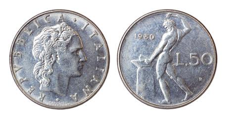 retro coin of italy