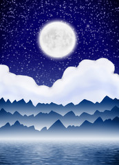 Abstract landscape with moon and mountain