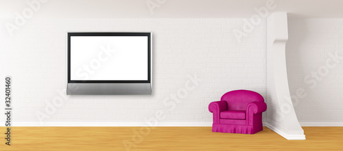 purple armchair with lcd TV in modern interior