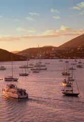 St. Thomas Harbor at Sunset, Caribbean