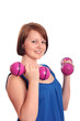 Prettty teenage girl exercising