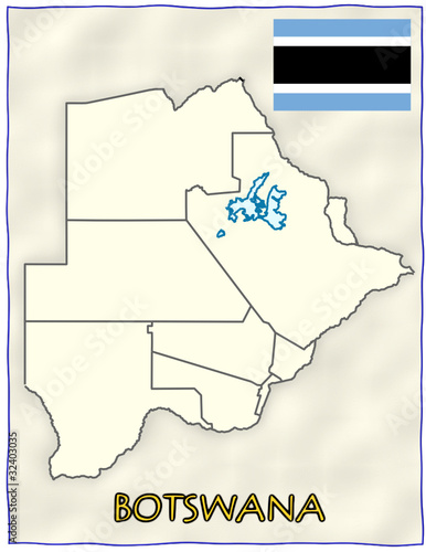 political map of botswana. Botswana political division national emblem flag map