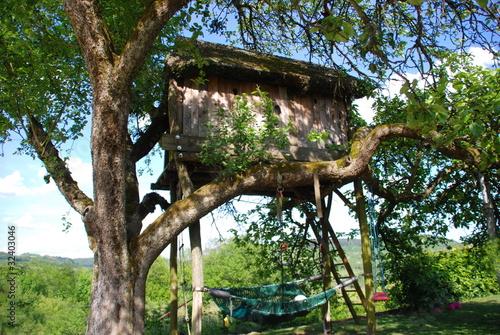 Leinwandbild Motiv Baumhaus im Apfelbaum
