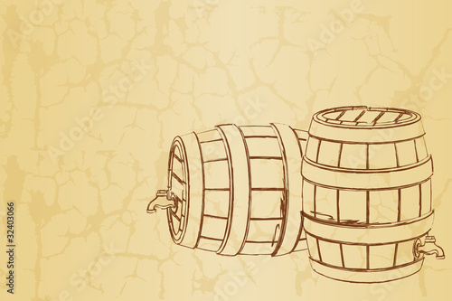 Beer Barrel on Vintage Background
