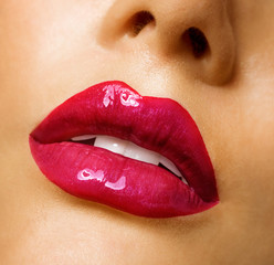 Sensual mouth. Red lipstick