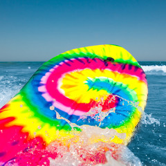 surf board with wave splash