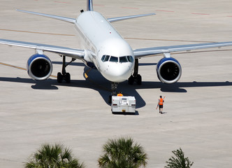 Aircraft in tow at Tampa Airport