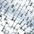 abstract smooth blue metallic cubes as background