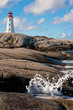 Famous Peggys Point Light in in Peggys Cove, Nova Scotia
