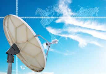 satellite dish antennas under blue sky