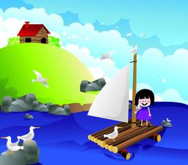 niña navegando en una balsa