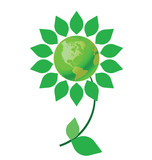 Environmental climate change flower with green earth poster