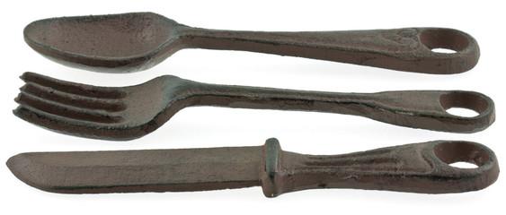 couteau, fourchette et cuiller de décoration en fonte