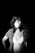 Cute girl in protective mask and linguiere. Black and White