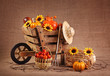 Wooden wheelbarrow decoration with sunflowers