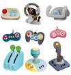 cartoon game joystick icon set