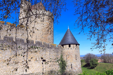 Walls and towers of famous medieval city, Carcassonne, France