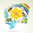 Bees and honeycombs over floral background