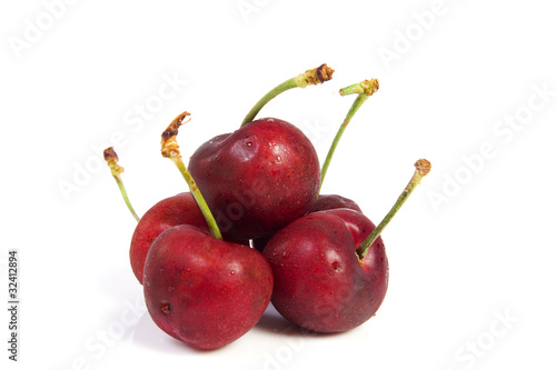 Red cherry with dewdrops