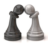 Black and white pawns in love