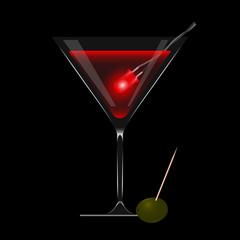 led rosso, aperitivo e oliva