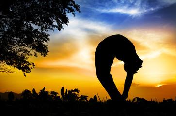 Yoga silhouette tiriang mukhottanasana pose