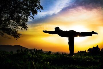 Yoga silhouette virabhadrasana III warior pose