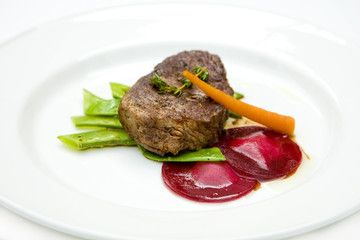 beef with beets, carrots and beans