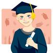 Graduate boy holding diploma