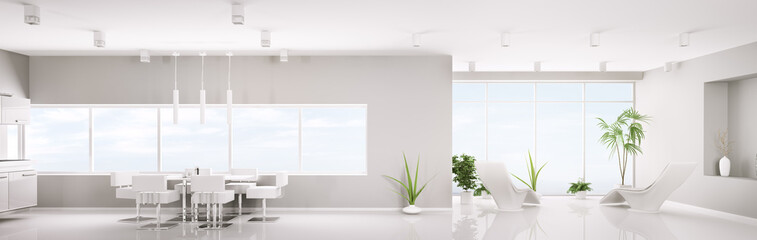 Modern weiss apartment panorama 3d render