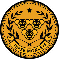 Monkey coin, vector illustration