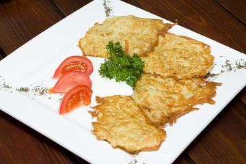Crispy fried potato pancakes