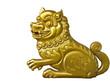 lion wood carve gold paint