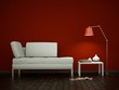 3d Rendering weisses Sofa vor roter Wand