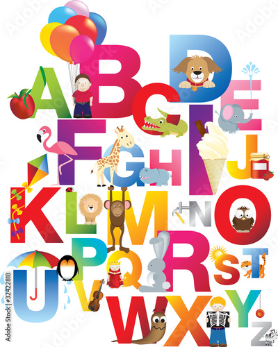 Sticker illustration of childrens alphabet