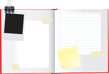 vector illustration of a open sketchbook or scrapbook