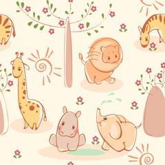 Wallpaper with zebras, giraffes, elephants, lions, hippos.