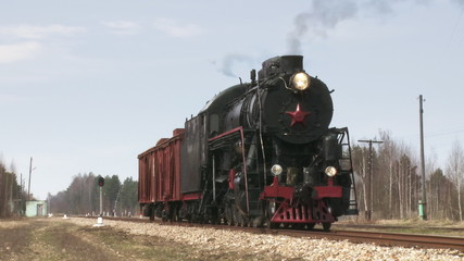 old train with steam engine