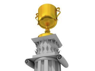 gold cup on a white antique pedestal