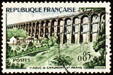 Viaduct in France on post stamp poster