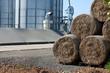 hay bales and silos