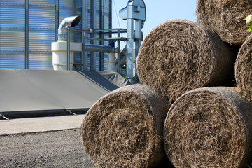 hay bales and silos