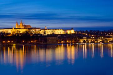 Sunset Vltava River,Charles Bridge,Prague Castle at night,Prague