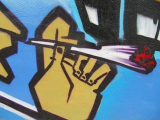 Graffiti advocating drugs.