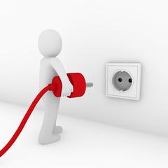 3d man plug socket red