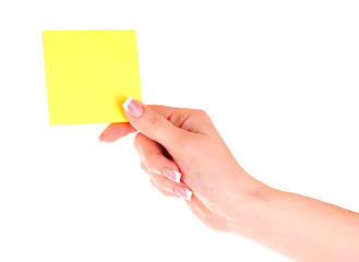 Holding a Yellow Note