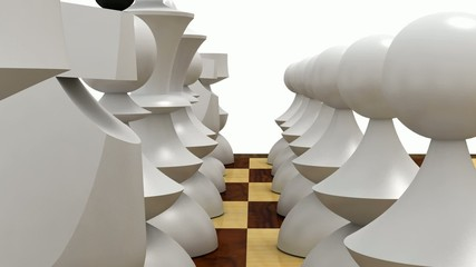 White chess pieces lined up, ready to play