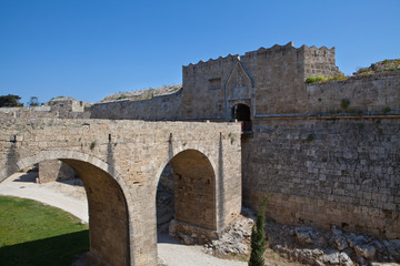 Rhodes town wall and gatehouse