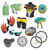 cartoon bicycle equipment icon set - 32436887